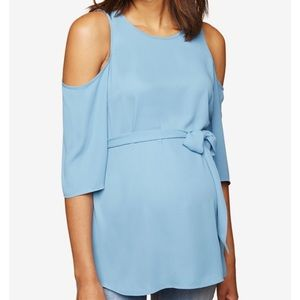 Motherhood maternity blue cold shoulder top